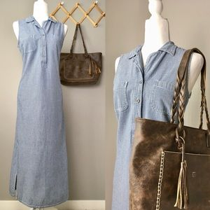 Vintage Gingham Printed Denim Buttoned Maxi Dress